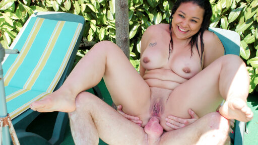 Chubby brunette French newbie gets drilled and cummed on by the pool
