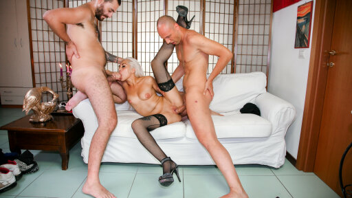 Mature amateur Italian MMF threesome with blonde Clara Caleo and two studs