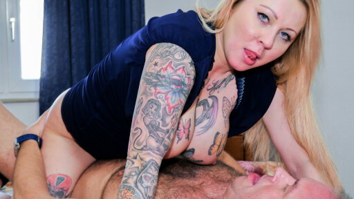 Mature German blondie Justyna C. gets cum on her boobs after threesome