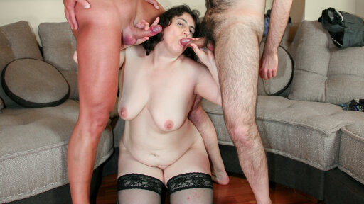 Italian BBW Moana loves a facial cumshot after threesome