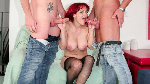 Italian 40+ MILF Mary Rider gets facialized after hardcore MMF threesome