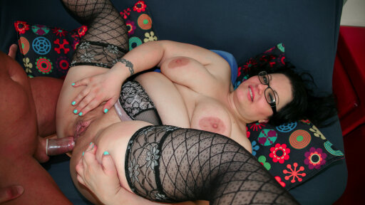 Chubby mature Italian with glasses gets her pussy and ass slammed deep