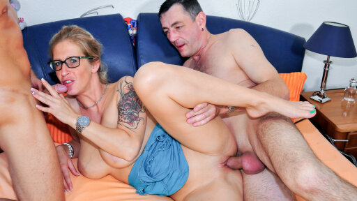 Nasty hardcore MMF threesome with big titted mature German blonde Ziska