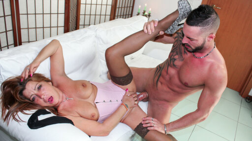 Mature Italian lady gets cum on tits in hardcore fuck with younger dude