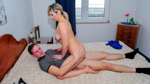 Naughty German blonde Elif O. takes hard cock and eats cum