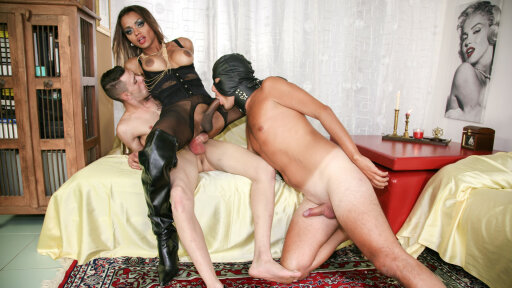 Gorgeous Latina tranny gets pleased by two cocks in wild Italian threesome