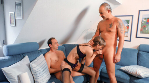 Mature German lady takes two cocks in nasty MMF threesome