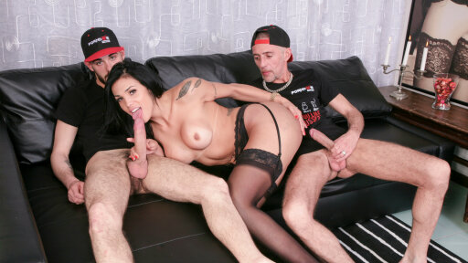 Gorgeous shemale Juliana Soares fucks two guys in wild hard threesome