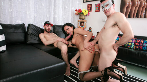 Two Italian men fuck a hot brunette Latina shemale in a hardcore threesome