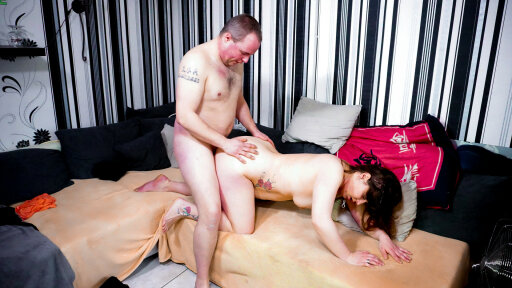 Brown-haired tattooed BBW is in for great sex in a German reality porn tape