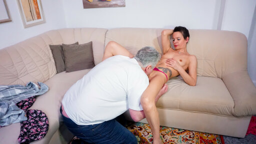 Amateur German housewife Sabrina enjoys a dirty mature fuck session