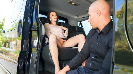Czech babe is fucked in traffic and gets her booty all covered in cum