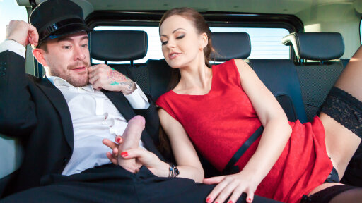 Sexy British babe Tina Kay gives footjob and gets cum covered in the cab