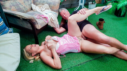 Older guy fucks a blonde and busty German newbie cheating on her husband