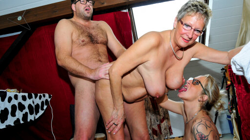 Cum on tits for mature German blondes in steamy amateur FFM threesome