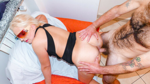 Hairy guy has mature amateur sex with blonde Italian swinger in her 40s