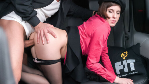 Brunette Czech babe seduces taxi driver George Uhl to have sex in the cab