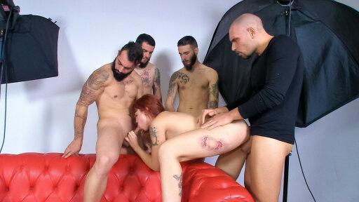 Tattooed Spanish pornstar Lilyan Red in wild gangbang with 4 amateur guys
