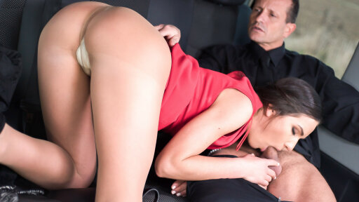 Brunette Russian beauty Nataly Gold is fucked by George Uhl in his cab