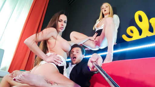 Hot consoling FFM threesome with gorgeous Czech wife Mea Melone and Sicilia