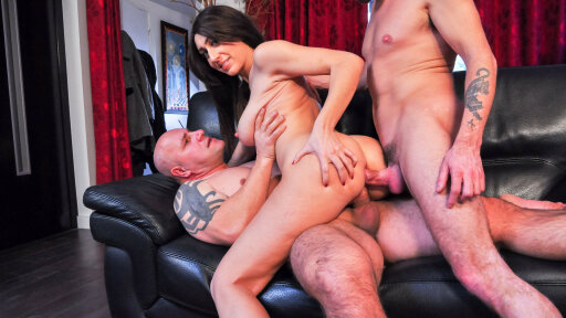Slutty French Eloa Lombard gets DP and cum on ass in dirty MMF threesome