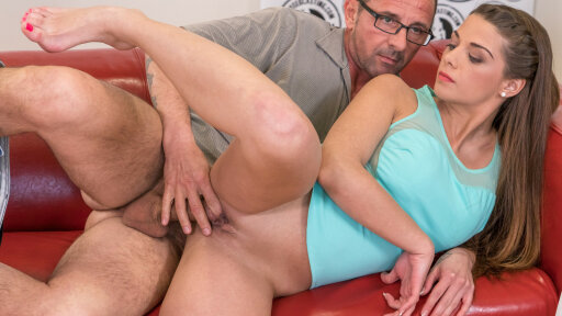Gorgeous Czech brunette Bella eats cum in nasty audition with David Perry
