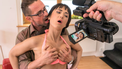 Russian brunette Angie Moon gets cum covered in hot hardcore audition