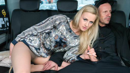 Sexy Czech blonde Katie Sky gets cum on tits in the backseat of the car
